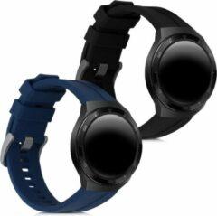 Kwmobile 2x horlogeband voor Huawei Watch GT 2e - siliconen band voor fitnesstracker - zwart / donkerblauw