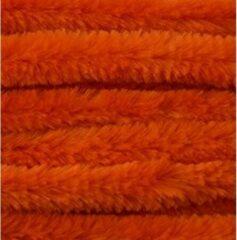Merkloos / Sans marque 30x Oranje chenille draad 14 mm x 50 cm - Buigbaar draad - Pluche chenillegaren/chenilledraden - Hobbymateriaal om mee te knutselen