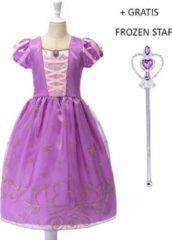 Paarse Prinsessenjurk.nl Rapunzel Tangled jurk + gratis broche + gratis handschoenen - 122/128 (130) 7-8 jaar - verkleedjurk kleedje prinsessenjurk Raponsje