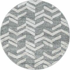 Pisa Modern Design Rond Vloerkleed Laagpolig Grijs- 200 CM ROND