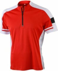 James nicholson james and nicholson heren fietsshirt met halve rits rood