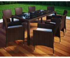 Poly Rattan 190x90 Gartenmöbel Essgruppe Sitzgruppe Glas Rattanmöbel Gartenset VCM 6 Stühle + 1 Tisch, Braun