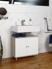 Bad Unterschrank Waschtisch Waschbecken Badschrank Regal Wascho Eiche-Sägerau 55 x 60 x 32 cm VCM Eiche-Sägerau
