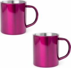 Shoppartners 2x Drinkbeker/mok fuchsia 280 ml - RVS - Fuchsia mokken/bekers voor onbijt en lunch