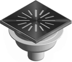Aquaberg ABS vloerput met RVS rooster met RVS sierrand met onderuitloop Ø50mm 150x150mm met PPC reukafsluiter, reukslot 50mm
