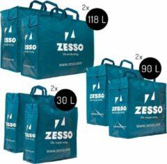 Blauwe Zesso Big Shopper Mix Zesso Bag 2x M, 2x L, 2x XL - Voordeelpakket Set van 6