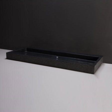 Afbeelding van Wastafel Forzalaqua Palermo Graniet Gezoet Gebrand 2 Kraangaten Zwart 120,5x51,5x9 cm