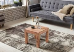Wohnling Couchtisch Massiv-Holz Akazie 45 cm breit Wohnzimmer-Tisch Design braun Landhaus-Stil Beistelltisch Natur-Produkt Wohnzimmermöbel Unikat mode