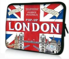 Rode Sleevy 15,6 laptophoes pop-up Londen - laptop sleeve - laptopcover - Collectie 250+ designs