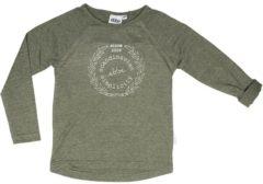 Ebbe - jongens shirt - Nox ls raglan tee - bronze groen melange - Maat 116