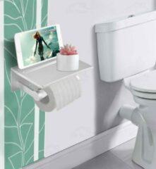 ON Home Toiletpapierhouder met plankje- Mat Zilver - Wc-rolhouder met planchet - Toiletrolhouder met legplankje - Toiletrolhouder met telefoonplankje - Toiletrolhouder met telefoonhouder - Smartphonehouder voor toilet - Rolhouder toilet - Toilet paper hol