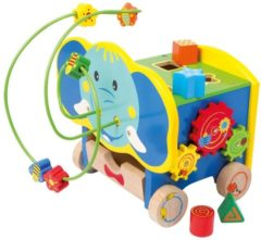 Blauwe Base Toys Houten activiteiten kubus olifant