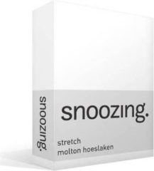 Snoozing Stretch Molton Hoeslaken - 80% Katoen - 20% Polyester - Lits-jumeaux (180x210/220 Of 200x200 Cm) - Wit