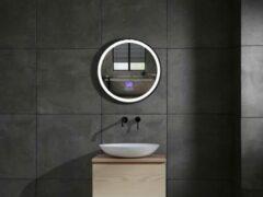 Mawialux LED spiegel   Directe en indirecte verlichting   50cm   Rond   Verwarming   Digitale klok   Bluetooth   ML-50NMR-WR