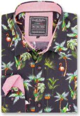 Gentile Bellini Heren Overhemd - Slim Fit - Flamingo Palm Tree - Zwart - Maat S