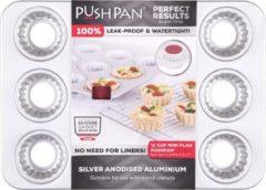 Wham PushPan Cupcake Mini - Aluminium - Rechthoekig - 12 stuks