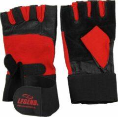 Legend Sports Fitness Handschoenen Leder Zwart/rood Legend Maat S