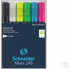 Marker Schneider Maxx 245 6st. in etui. Zwart, wit, geel, groen, blauw, rood