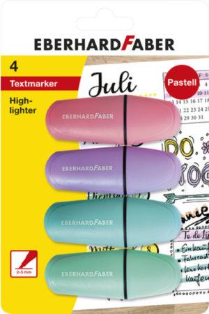 Afbeelding van WK30Markeerstift EFA mini pastel 4st. op kaart (roze, paars, blauw en groen)