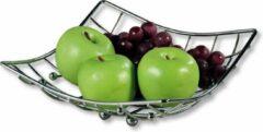 Decopatent Fruitschaal Vierkant - Schaal voor fruit - Design Fruitmand - Metaal - Afm: 26 x 24 x 9.5 Cm - Zilver kleurig