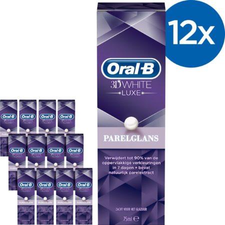 Afbeelding van Oral-B Oral B 3DWhite Luxe Parelglans - Voordeelverpakking 12x75ml - Tandpasta