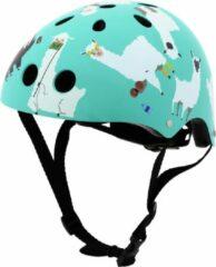 Turquoise Mini Hornit Lids Fietshelm Voor Kinderen - Met Led Achterlicht - Lazy Llama (S)