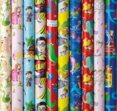 Benza Assortiment cadeaupapier inpakpapier voor kinderen 1 - 200 x 70 cm - 6 rollen