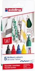 Rode Edding E-4500/5 S textielmarkers basiskleuren, voor tekenen op textiel, bv T-shirt, Tassen, schoenen, punt dikte 2-3 mm
