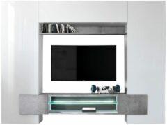 Pesaro Mobilia TV-wandmeubel set Incastro 191 cm hoog - Hoogglans wit met grijs beton