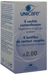 Unicare 1 maand Lens 4pack +2.00 - Contactlenzen