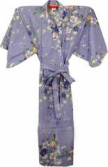 Merkloos Traditionele Japanse Kimono Yukata Paars met Bloemen Dames Nachtmode kimono One Size