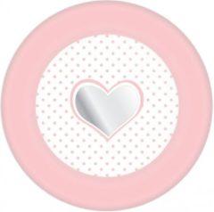 Roze Haza Papieren bordjes hartje geboorte meisje 8 stuks