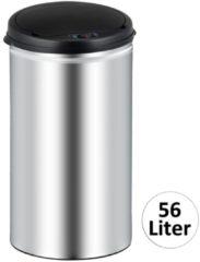 Monzana Prullenbak 56 liter vuilnisbak afvalbak met sensor zilverkleurig
