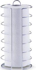 1x Zilveren metalen keukenrolhouder rond 15 x 30 cm - Zeller - Keukenbenodigdheden - Keukenaccessoires - Keukenpapier/keukenrol houders - Houders/standaards voor in de keuken