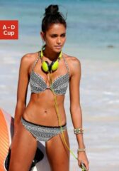 Zwarte VENICE BEACH Push-up-bikinitop Spring met etnoprint