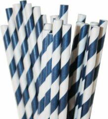 Joyenco Papieren rietjes marineblauw gestreept - 50 stuks - duurzaam, 100% composteerbaar
