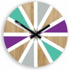 Blauwe Modernklokken.nl Vento Houten Wandklok Ø 33 CM