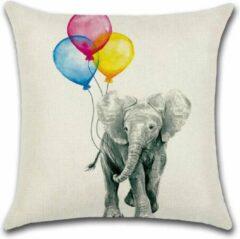 Roze By Javy Kussenhoes Ballon - Olifant - Kussenhoes - 45x45 cm - Sierkussen - Polyester