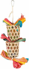 Trixie vogel natuurspeelgoed aan sisalkoord palmblad / maÏslies 35 CM