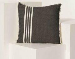 Zwarte Lalay Kussenhoes 40x40 Krem Sultan Black- vierkant - sierkussen - katoen