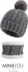 MINIIYOU Set muts colsjaal Fleece Baby (4-12 maanden) grijs | Beanie pompom - meisjes jongens sjaal