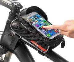 Zwarte Merkloos / Sans marque Fiets Frame Tasje met Touchable Venster voor Smartphone tot 6.0 Inches - Poortje voor Oordopjes - Waterdicht