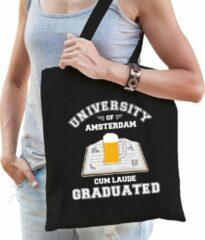 Bellatio Decorations Carnaval verkleed tasje zwart university of Amsterdam voor dames - Amsterdams geslaagd / afstudeer cadeau tas