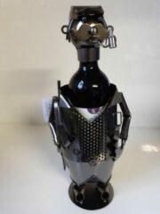 Donkergrijze Flessen houder man met pijp metaal van Clayre & Eef 37x20x16 ccm