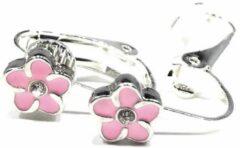 MNQ bijoux - Clipoorbellen - Oorclips - Kind - Meisjes - Bloem - Zachtroze/zilver - Knopjes
