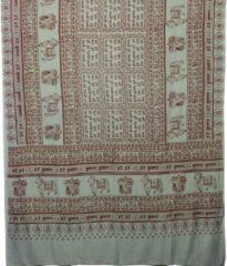Prabhuji's Gifts Meditatie omslagdoek met mantra Maha, natuurvezel, XL, 220 x 106 cm, grijs, vegan