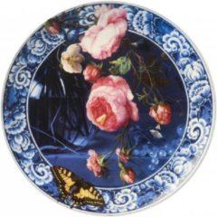 Blauwe Heinen Delfts Blauw Heinen - Wandborden - Bord Bloemen Gouden eeuw 26,5cm