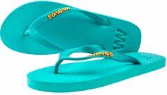 Waves teen slippers dames turquoise maat 37 vegan duurzaam fair rubber flip flops