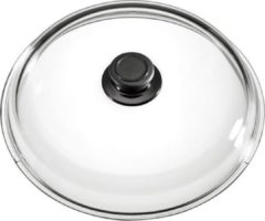 Roestvrijstalen Eurolux by Solinger Eurolux glazen deksel met knop 24 cm