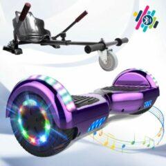Evercross 6.5 inch Hoverboard met Flits Wielen + TAOTAO moederbord, Elektrische Zelfbalancerende Scooter,Bluetooth Speaker,LED verlichting - Paars Chroom + Hoverkart Koolzwart